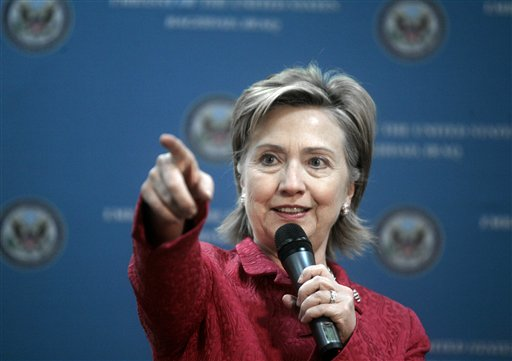 US Secretary of State Hillary Rodham Clinton gestures as she addresses representatives of Iraqi civil society and members of the press core at a meeting at the U.S. embassy in Baghdad, Iraq, Saturday, April 25, 2009. Clinton on Saturday assured Iraq that the Obama administration would not abandon the country even as it presses ahead with plans to withdraw American troops amid a recent surge in violence. (AP Photo/Marko Drobnjakovic)