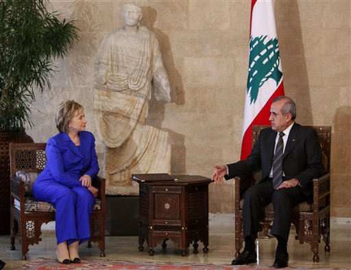 U.S. Secretary of State Hillary Rodham Clinton, left, meets with Lebanese President Michel Suleiman, right, at the Lebanese Presidential Palace, in Baabda east of Beirut, Lebanon, Sunday April 26, 2009. U.S. Secretary of State Hillary Rodham Clinton met Sunday with Lebanon's president on a stop in Beirut ahead of a critical election that could see a pro-U.S. government ousted by the Iranian-backed Hezbollah and its allies. (AP Photo/Hussein Malla)